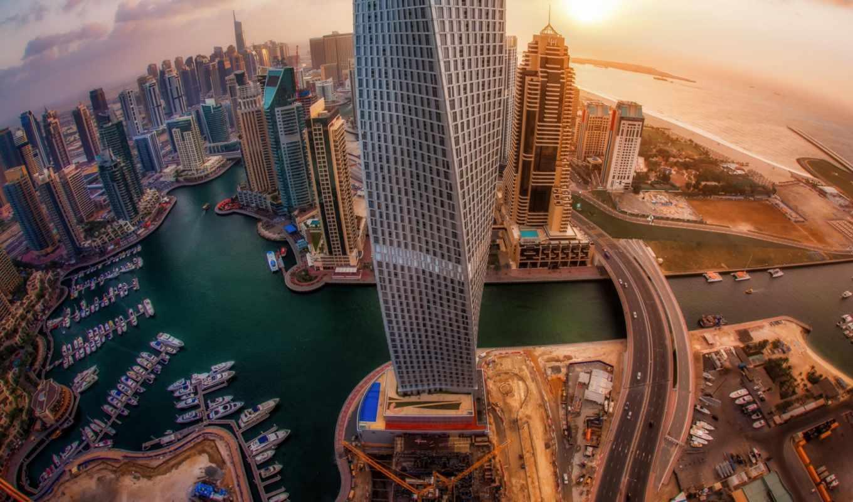 dubai, город, небоскребы, uae, рассвет, эмираты, арабские, объединенные, вид, первую,