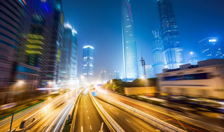 город, огни, ночь, улица, картинка, buildings, размытость,
