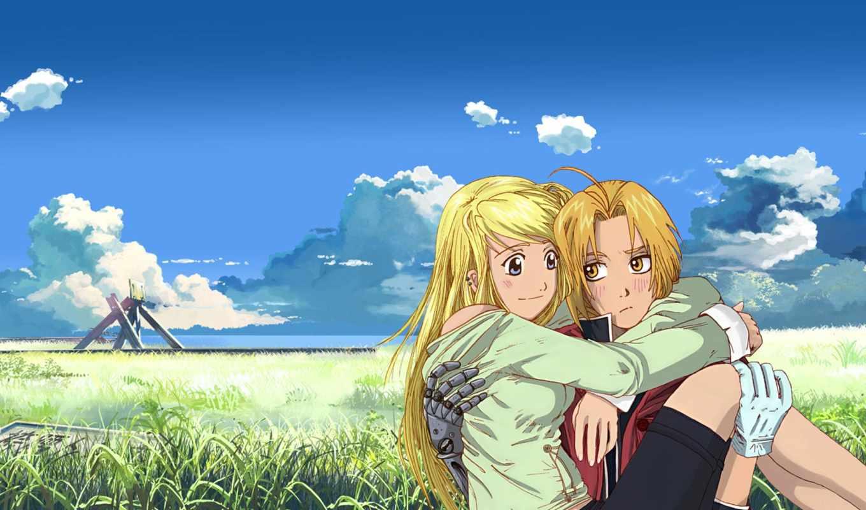 anime, парень, девушка, улыбка, love, alchemist
