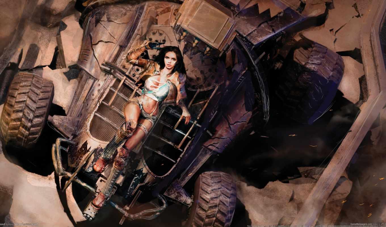 девушка, cyberpunk, красивые, art, лежит, машина, fantasy, песок, пыль, final,