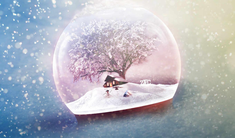 новогодние, new, год, снеговик, декабрь, house, украшения,