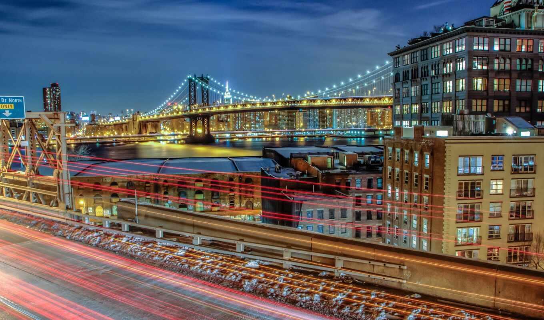 огонь, город, ночь, york, туннель, нью
