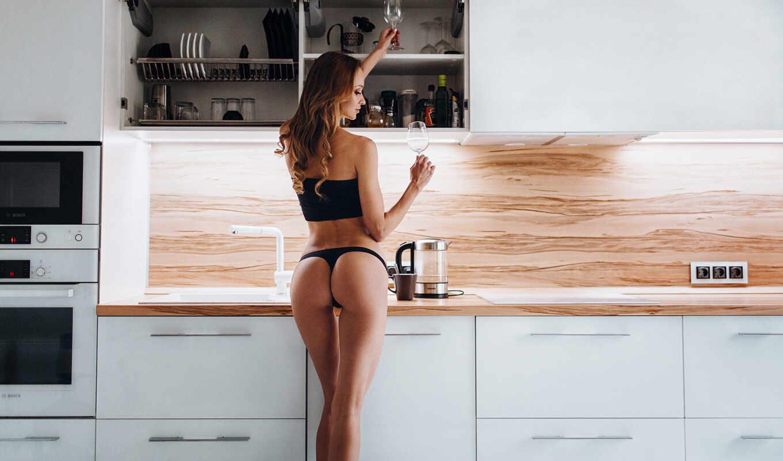kitchen, девушка, обнаженная, фартук, красивый