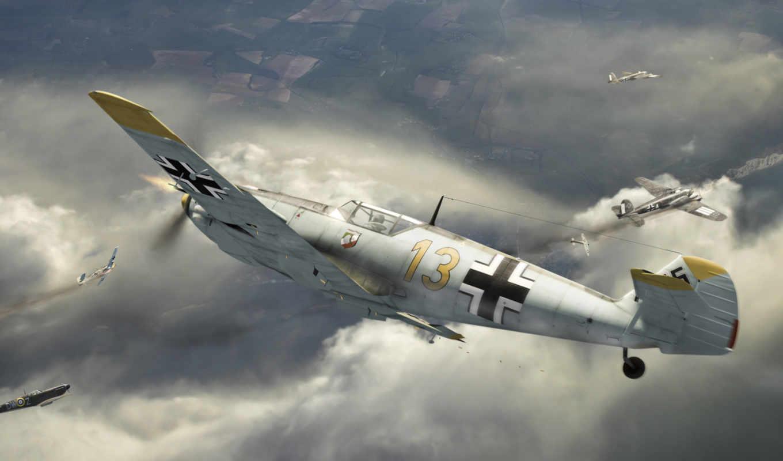 небо, самолет, немецкий, картинка,
