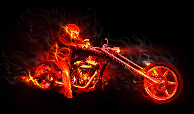 rider, ghost, пламя, мотоцикл, череп, facebook, game,