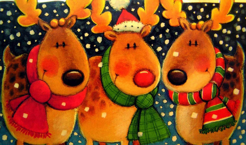 christmas, картички, новогодние, за, ден, година, free, олени, нова, новый,