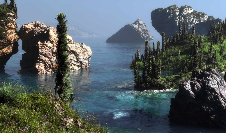 арт, скалы, пейзаж, море, лес, холмы, klontak, цветы,