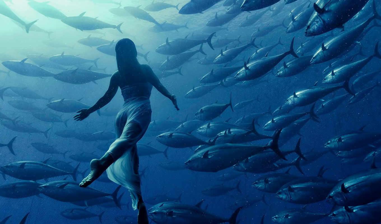 water, девушка, depth, рыбы, метки, платье, свет,