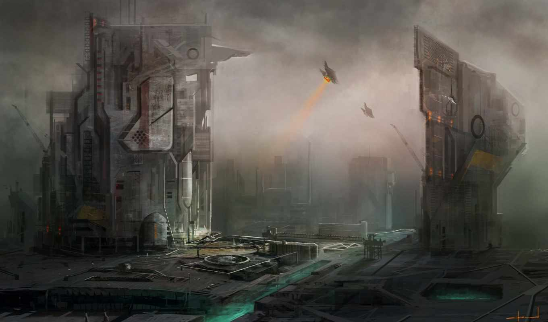 город, art, корабли, будущее, города, фантастика,