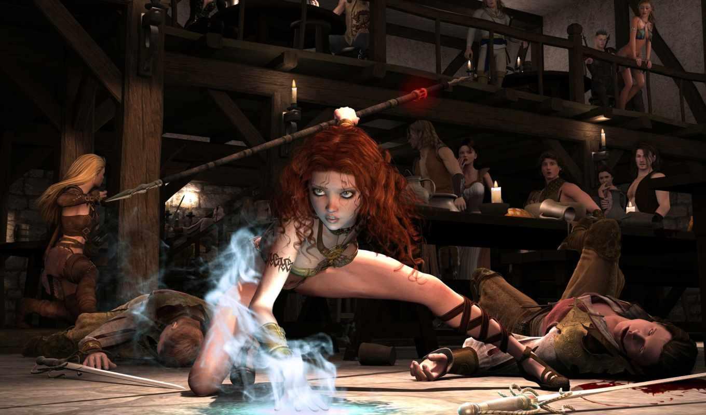 девушка, магия, эльф, art, таверна, бой, arne, маг,