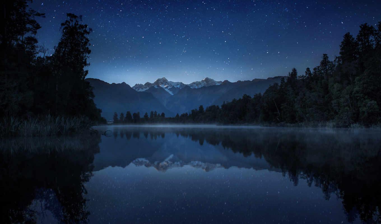 звезды, горы, ночь, небо, качестве, базе, озеро, нов, высоком,