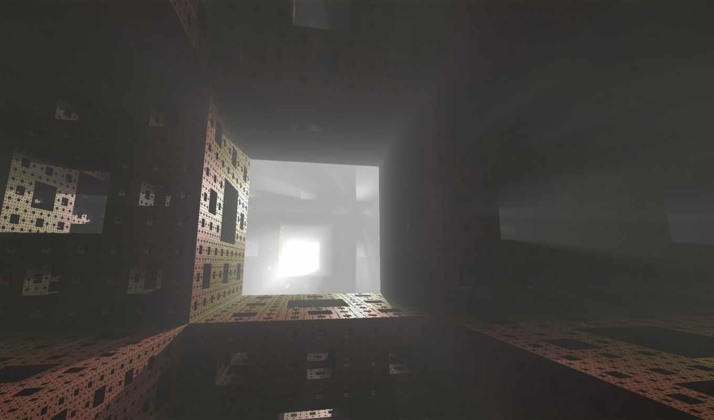 губка, менгера, фрактал, туман, боб, свет, лучи,