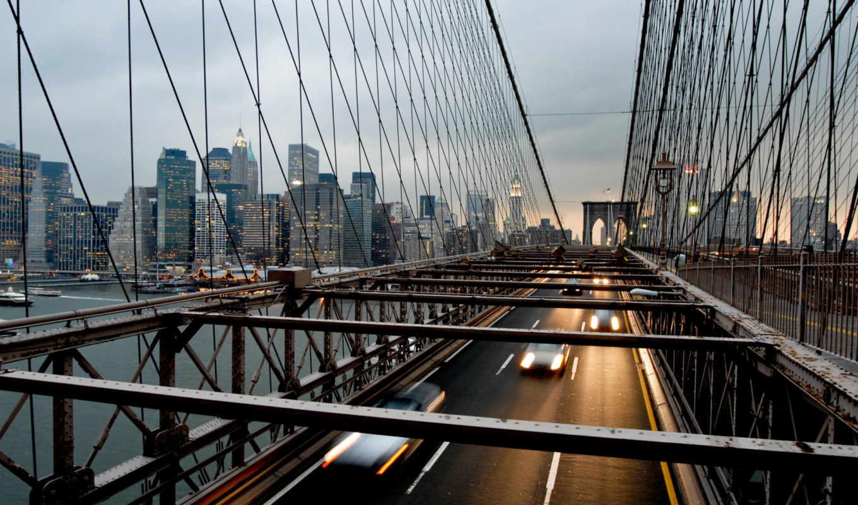мост, город, usa, york, new, фотообои, бруклин, нью,