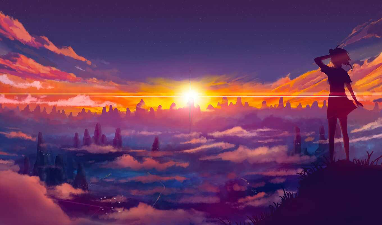 anime, закат, rising, sun, день, landscape, art