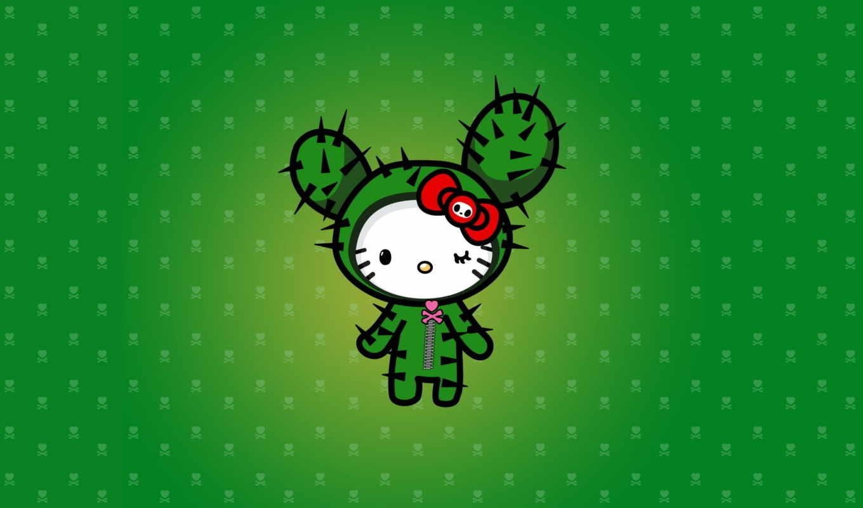 hello, кактус, kitty, сердечко, зелёный, колючки, wallpaper, tokidoki, картинка,