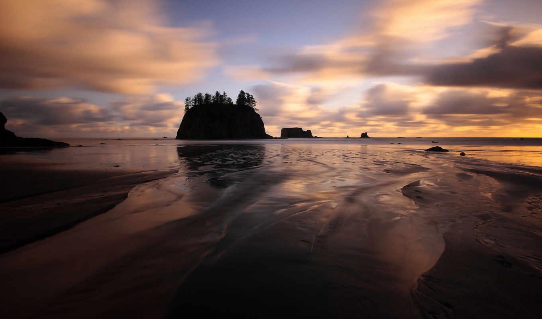 пляж, вашингтон, возле, пуш, закат, ла, природы,