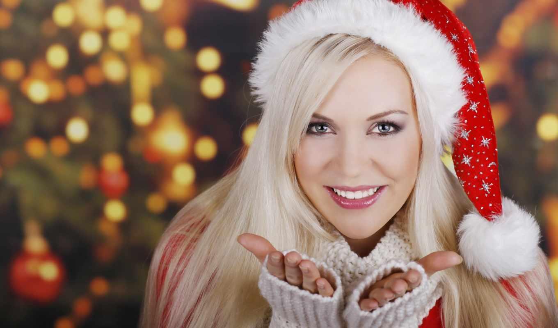 новый, год, девушка, шапочка, блондинка, новогодняя, девушки, подарить, улыбка, девушке,