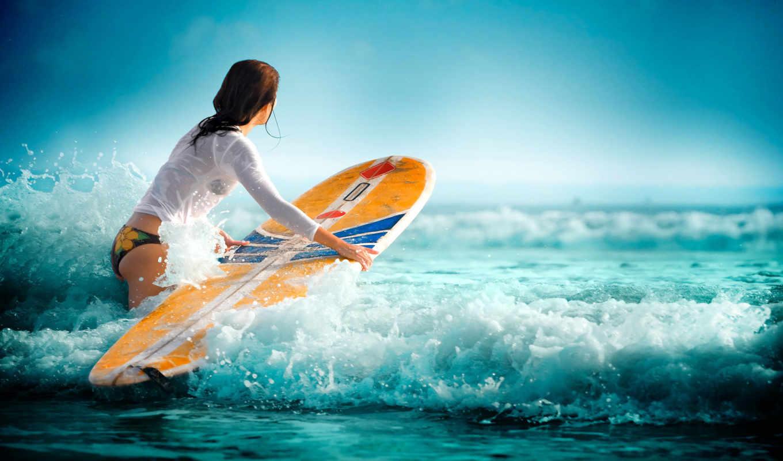 спорт, девушка, море, сёрфинг, волны, вода,