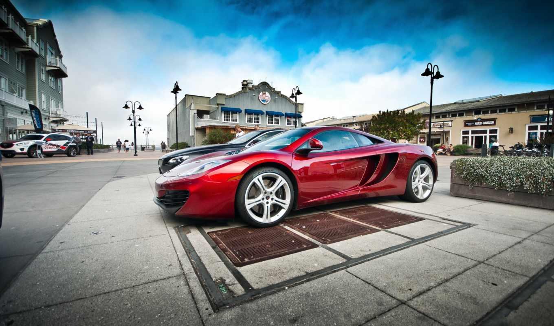 pada, машины, спортивная, машина, автомобили, красная, дек, города, улице, портового,