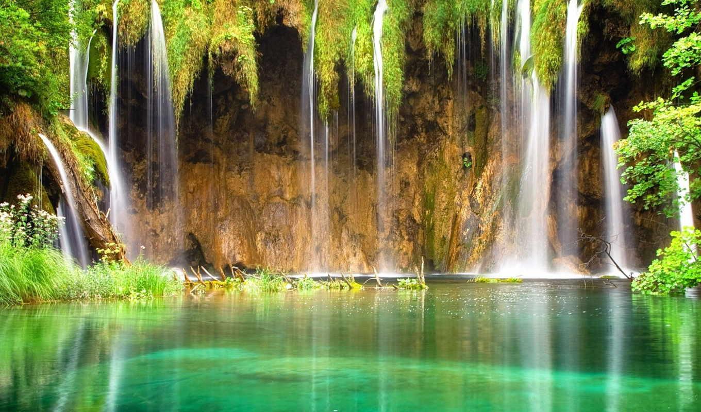 water, течет, река, воды, водопад, деревья,