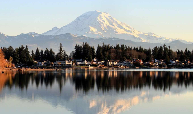 ,природа, гора, небо, городок, озеро,