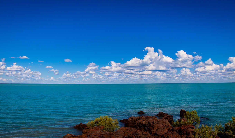 море, берег, небо, скалистый, горизонт,