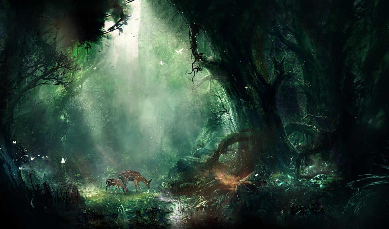 фэнтези, девушка, взгляд, совершенно, эльф, art, свет, листья,