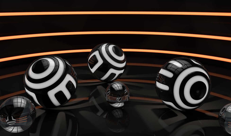 шары, black, spheres, digital, art,