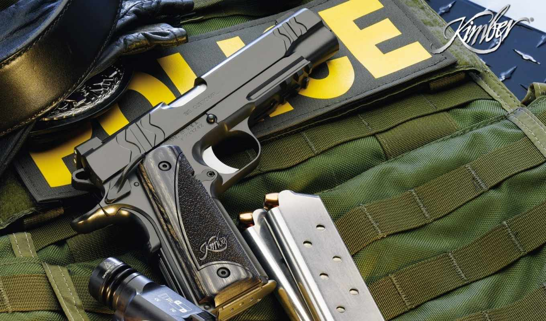 police, оружие, пистолет, kimber, фонарик, магазины, weapons, картинка,