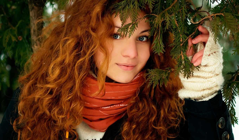 природа, девушка, рыжие, взгляд, улыбка, лицо, волосы,