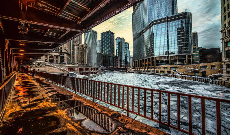 chicago, иллинойс, usa, огни, skyscrapers,