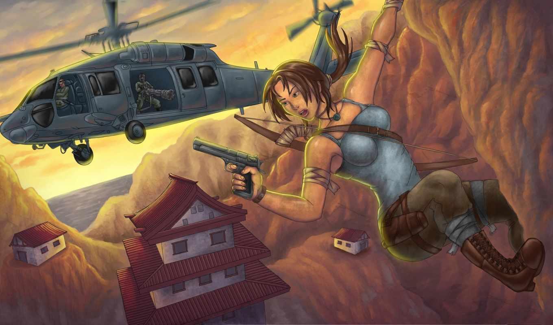 raider, tomb, croft, лара, вертолеты, авиация, компьютер, рисованные, планшетный,