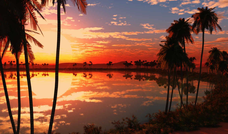 закат, природа, озеро, desktop, images, high,