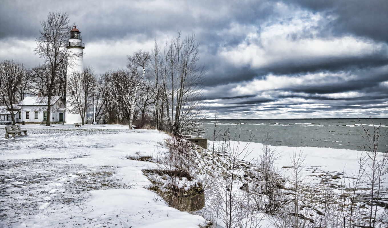winter, lighthouse, hope, порт, michigan, свет, photos,