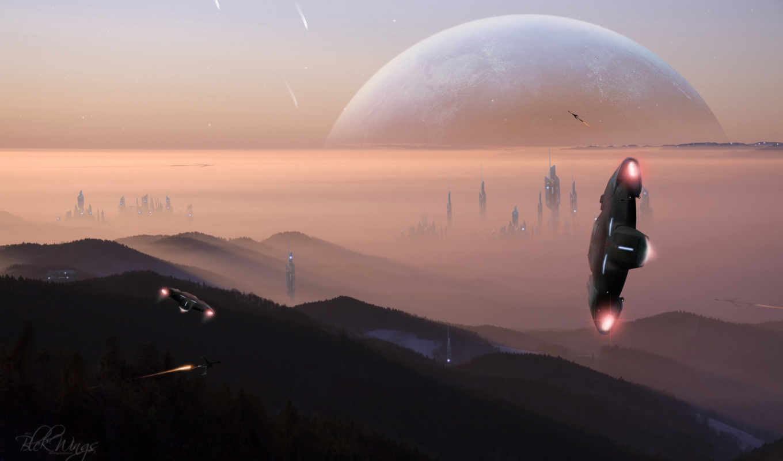 город, планета, корабли, картинка,