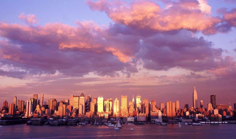 панорама, облака, город, картинка, картинку,