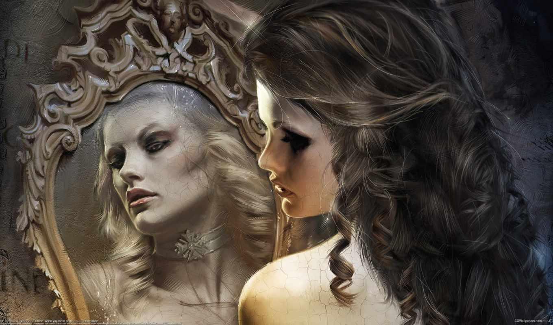 зеркало, отражение, девушка, wagner, bruno,