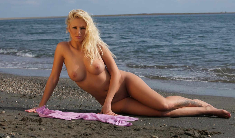 грудь, обнаженная, модель, тело, ножки, blonde, взгляд, море, девушка, песок,