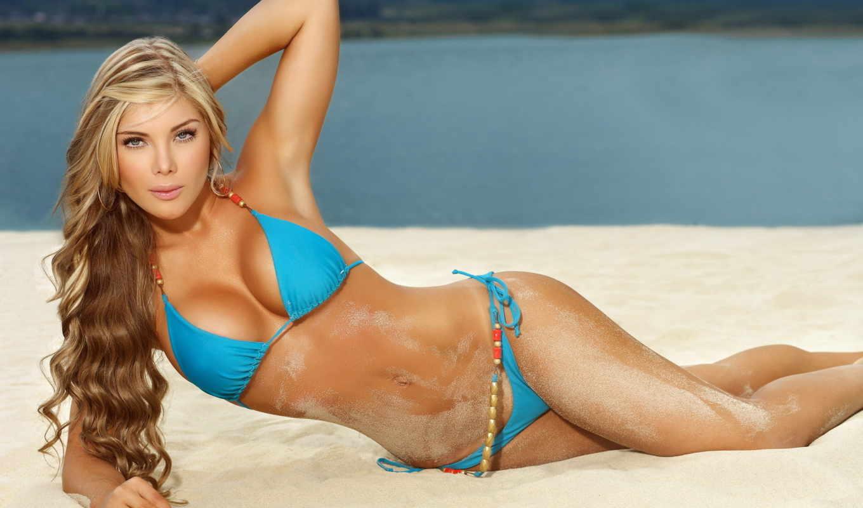 купальник, голубой, песок, пляж,