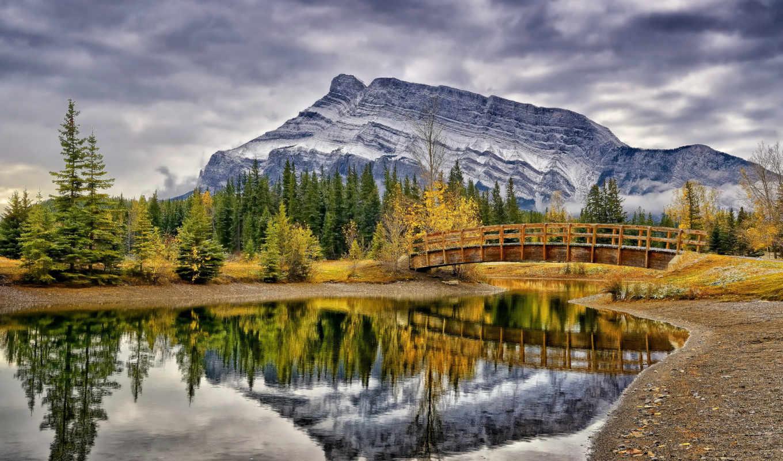 природа, канада, мост, деревя, банф, landscape, красивая, park, горы,
