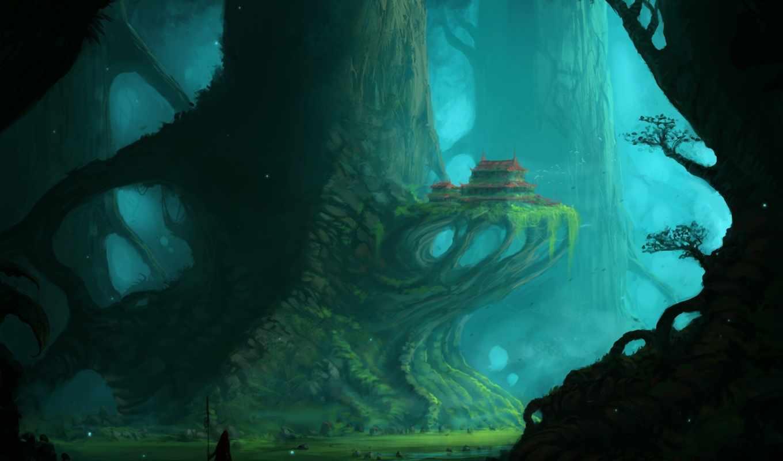 дереве, lodge, девушка, anime, сказочном, фоны, лесу, art, парень, магия,