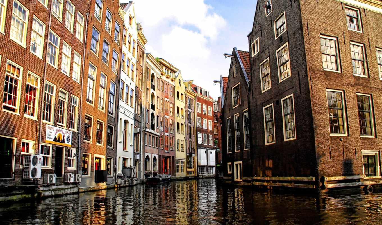 постройки, дома, город, венецианский, канал, венецианские, каналы, картинка, амстердаме,