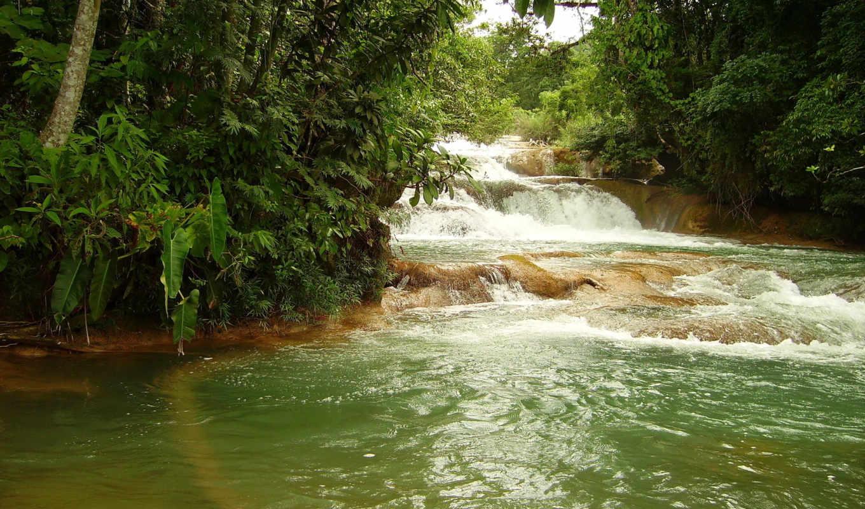 водопады, azul, agua, cascadas, природа, chiapas, mexico,