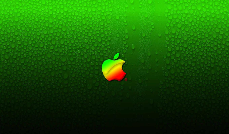 apple, лого, градиент, капли, вода, конденсат