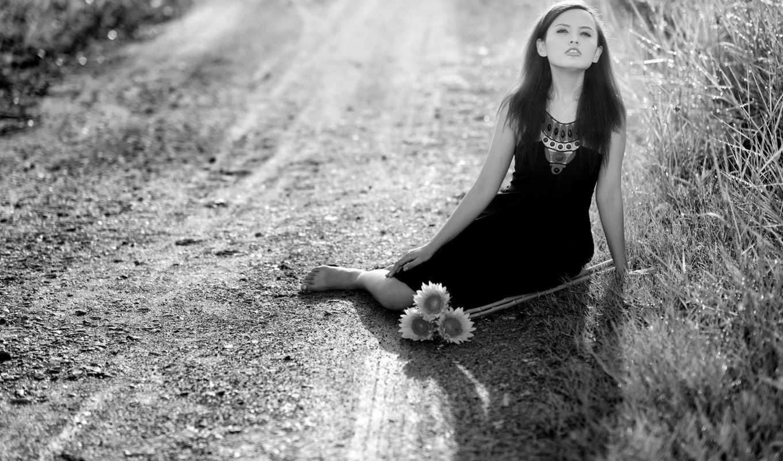 цветы, совершенно, gothic, категория, чёрно, дорога, белое,