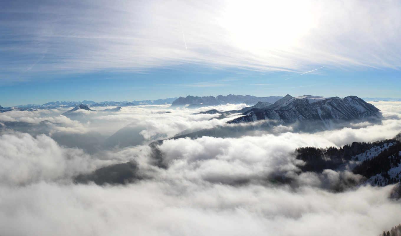 wolken, плакат, berge, sonne, zazzle, бер, den, панорама, kunst, und,