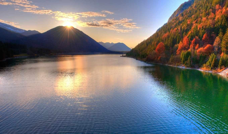 небо, рассвет, банка, осень, виды, река, горах, панорамные, горы,