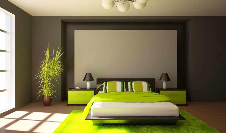 стиле, design, интерьер, спальня, спальни, зелёных, интерьере, зеленого, сочетания,