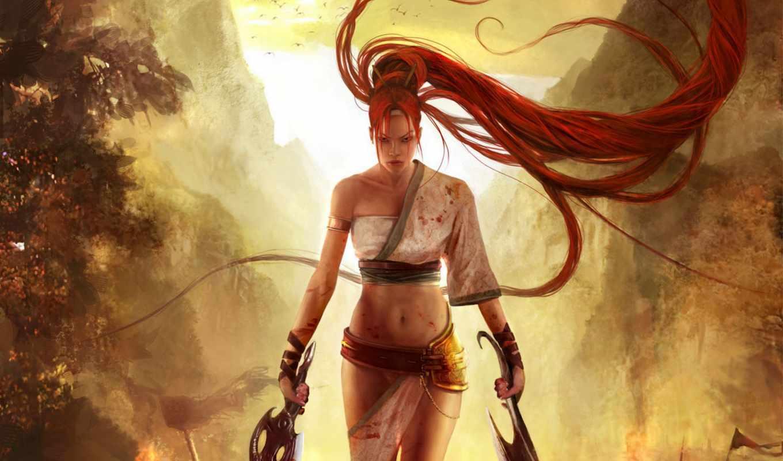 sword, nariko, воин, девушка, горы, огонь,