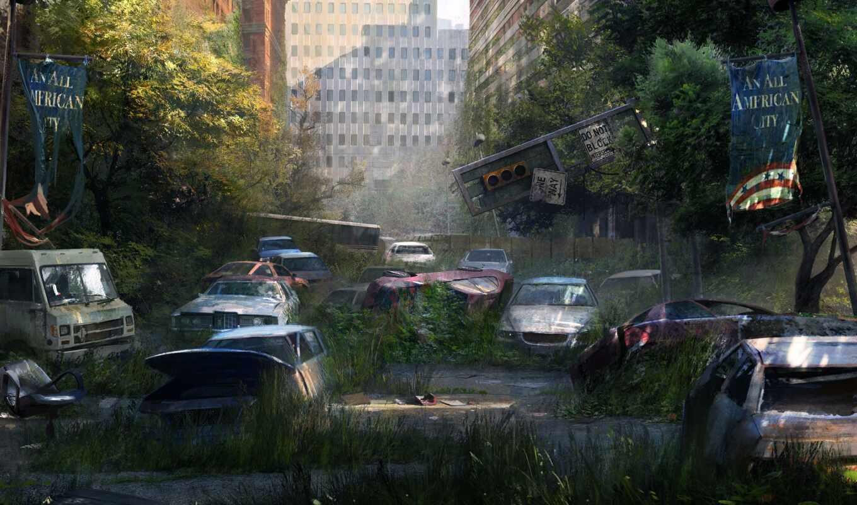 город, эпидемия, апокалипсис, здания, улица, стена, мох, деревья, машины, last, картинка, картинку,